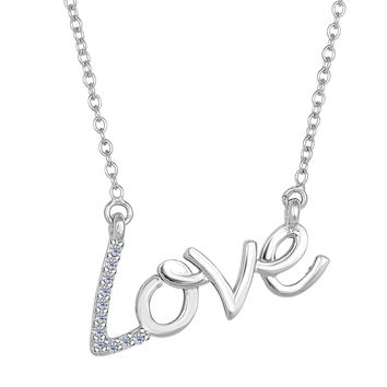 14K White Gold With 0.07 Ct Diamonds Script Love Necklace - 18 Inches