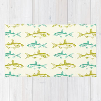 Fish! (mustard & teal) Area & Throw Rug by The Wallpaper Files | Society6