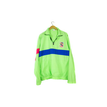 SURF 90s NEON nylon windbreaker / vintage surfer beach jacket / hot pink & green / rave club festival / spot sport european beach Mens XL
