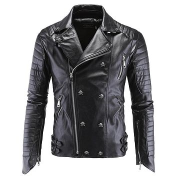 Leather Jacket Coats For Men Punk Leather Outwear Jackets