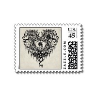 Dark Lacy Heart Postage Stamps from Zazzle.com