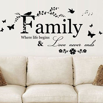 DIY HOME Family Letter Quote Removable Vinyl Decal Art Mural Home Decor Wall Stickers