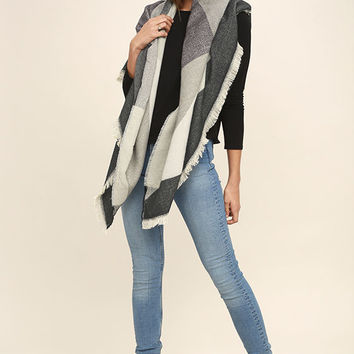 Down the Avenue Grey Print Scarf