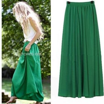 Plus Size Long Skirt Elegant Style Women Pleated Maxi Chiffon Skirts 2018 Beach Boho Summer Skirts Faldas Saia Jupe Femme