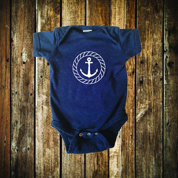 Anchor Onesuit in white on navy with a nautical theme for any beach baby and it makes the perfect baby shower gift