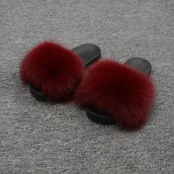 Women Fashion Genuine Fox Fur Slipper Indoor Outdoor Flat Soft Summer Slide96018