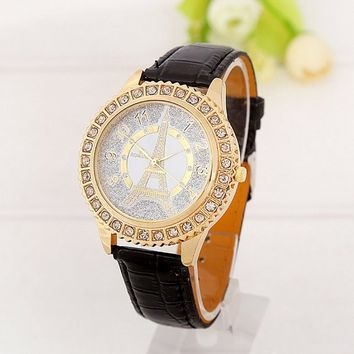 Women's Fashion Gold Tone Eiffel Tower Black Leather Quartz Watch