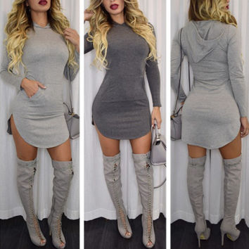 Winter Women's Fashion Long Sleeve With Pocket Hats Hoodies Irregular One Piece Dress [4919588228]
