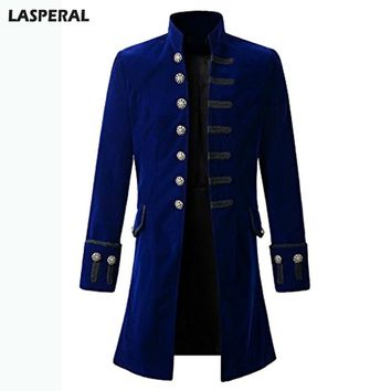 LASPERAL Brand Casual Long Sleeve Jackets Coats Victorian Men Velet Jacquard Steampunk Thick Fashion Windbreaker Overcoats
