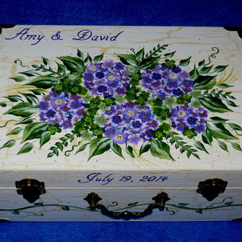 Bridal Gift Set, 1 Wooden Wedding Keepsake Box- 1 Wood Wedding Recipe Card Box, Hand Painted, Hydrangeas, Personalized, Memory Boxes