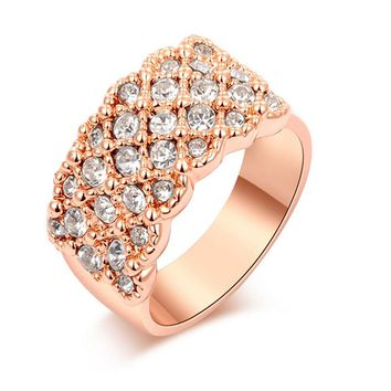 Rose Gold White Crystal Paved Promise Ring