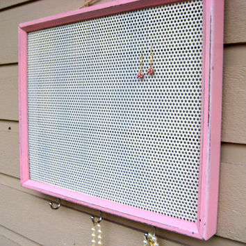 Rustic Framed Earring holder or Message center, Key Rack, Jewelry Display, Wood frame with silver hooks and white metal mesh