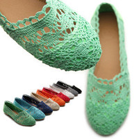 ollio Womens Ballet Flats Loafers Floral Lace Slip-on Shoes Low Heels