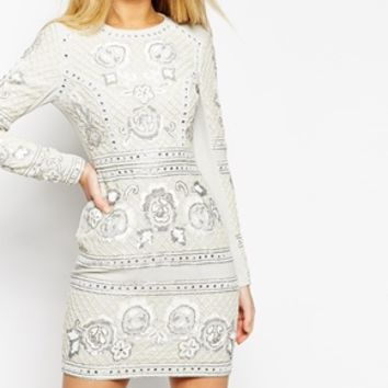 Needle & Thread Embellished Lace Grid Dress