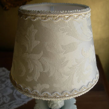 Pair of Chandelier Clip-On Lamp Shades Damask Fabric Wall Sconce Mini Lampshade - Handmade in Italy