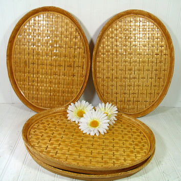 Vintage Bamboo Woven Rattan Serving Tray - Large Oval Handmade Sturdy Bamboo Frame & Wicker Waitstaff, Bed, Vanity, Decor Tray - 4 Available