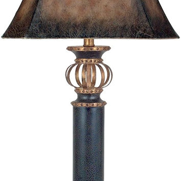 """0-029853>35""""h Iron Footed Column 1-Light Table Lamp Black and Gold"""