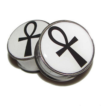 "Ankh Plugs - 1 Pair - Sizes 2g, 0g, 00g, 7/16"", 1/2"", 9/16"", 5/8"", 3/4"", 7/8"" & 1"""