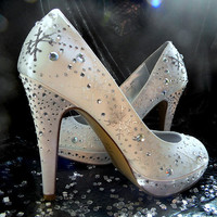 Wedding Shoes painted snowflakes  Winter Wedding Ivory