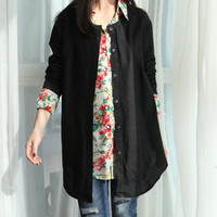 Black linen blouse shirt