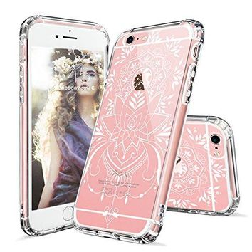iPhone 6s Case, iPhone 6 Clear Case, MOSNOVO White Henna Mandala Tattoo Pattern Printed Clear Design Transparent Plastic Case with TPU Bumper Protective Case Cover for Apple iPhone 6 6s (4.7 Inch)