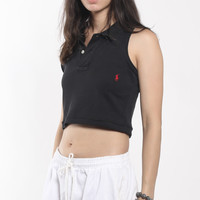 Vintage Polo Collared Crop Tank