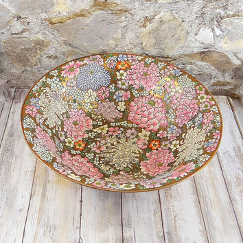 Vintage Hand Painted Gold and Enamel Floral Bowl by Andrea by Sadek, Large Decorative Bowl