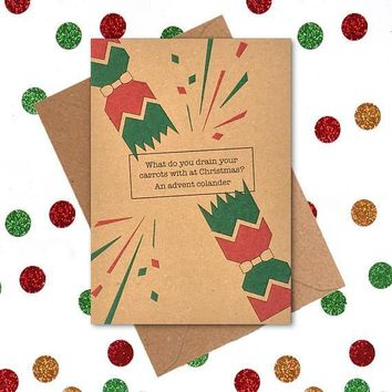 Drain Your Carrots With At Christmas Advent Colander Funny Christmas Card Holiday Card FREE SHIPPING