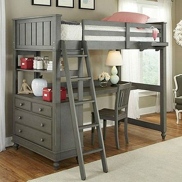 Twin Loft with Bed with Desk Chest & Ladder in Stone Wood Finish