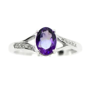 Sterling Silver Genuine Oval Amethyst & Diamond Ring
