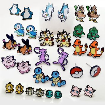 go Cute cosplay Earrings Game Anime Cartoon Charmander Meowth Psyduck Jigglypuff Snorlax RAICHU Stud Earrings bijouxKawaii Pokemon go  AT_89_9