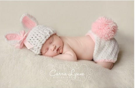 02e532537 Cream rabbit bunny hats with shorts sets suits Handmade outfits newborn  infant baby b