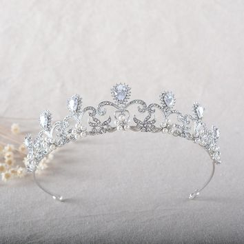 Pearl Rhinestone Bridal Tiaras Crown Cubic Zircon Princess Veil Tiara Brides Headbands Wedding Hair Accessories