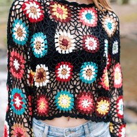 Brady Crochet Multi Sweater, Black