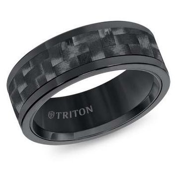 8mm Black Tungsten Carbide Wedding Band with Carbon Fiber Inlay