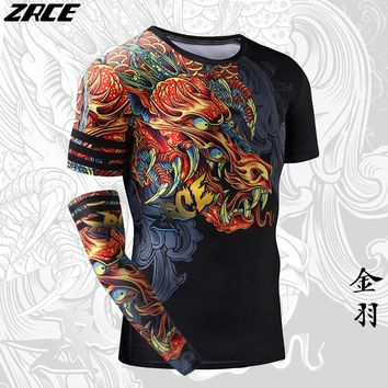 Compression Shirt Chinese Style Funny t shirts Dragon Brand Clothing 3D T shirt with Arm Sleeve Body Engineers Tee Shirt Homme
