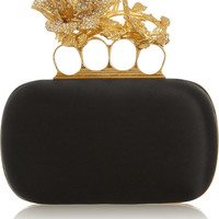 Alexander McQueen - Knuckle small Swarovski crystal-embellished satin box clutch