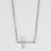 Blue Crown Sideways Cross Necklace Silver One Size For Men 22201614001