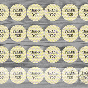 printable circle label, thank you sticker DIY, 1,67 in round label, chevron, yellow, gray party favor label, treat bag tag, instant download