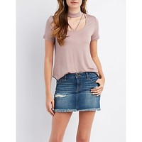 Strappy Choker Neck Tee | Charlotte Russe