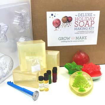 Deluxe DIY Holiday Soap Making Kit - Make your own festive soap for the holidays!
