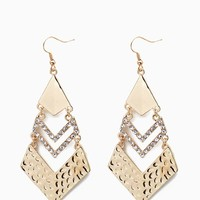 Metal and Texture Chevron Drop Earring