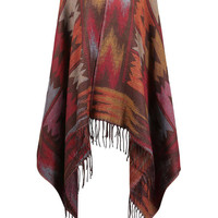 Cape with Fringe Trim Detail