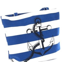 Nautical Navy Striped Large Anchor Logo Rope Handles Tote Bag