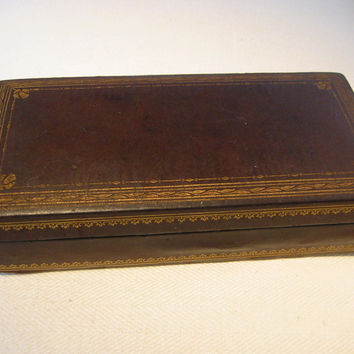 Italian Leather Humidor Cigar Box Embossed Gold Floral Decoration