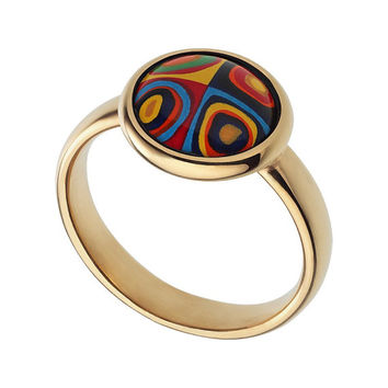 Wassily Kandinsky ring jewelry enamel jewelry pink gold ring enamel ring handmade jewelry gifts for her modern art