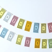 Monopoly Money Bunting, mini bunting, mini garlands, small pennants