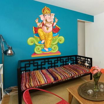 cik781 Full Color Wall decal elephant god Ganesh Hindu meditation hall bedroom hall
