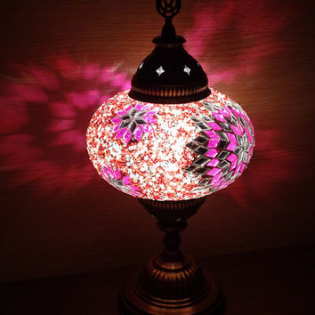 Unique handmade Turkish style colourful glass mosaic decorative table lamp, bedside night lamp, night light, kid's bedroom lamp.
