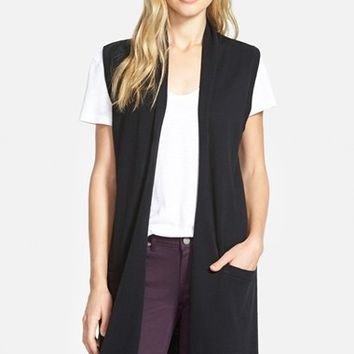 Women's Halogen Long Open Front Sweater Vest,